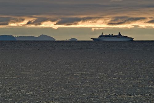 Cruise ship sailing the Norwegian coast