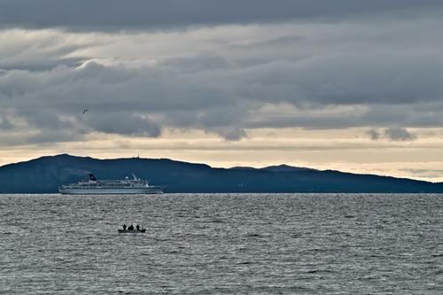 Cruise ship sailing the Norwegian coast