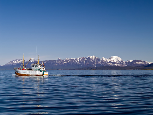 Old fishing boat on a calm sea