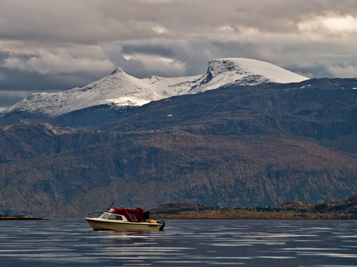 Picture from trip on the ocean - Autumn scenery in northern Norway