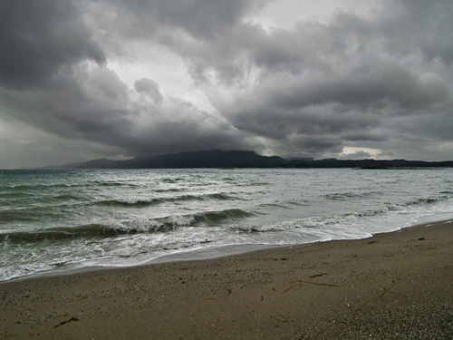 Photo from a windy and rainy day on the beach in northern Norway