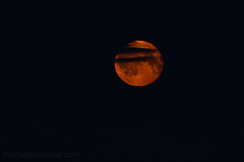 Picture of red moon in Northern Norway 22nd of December 2010