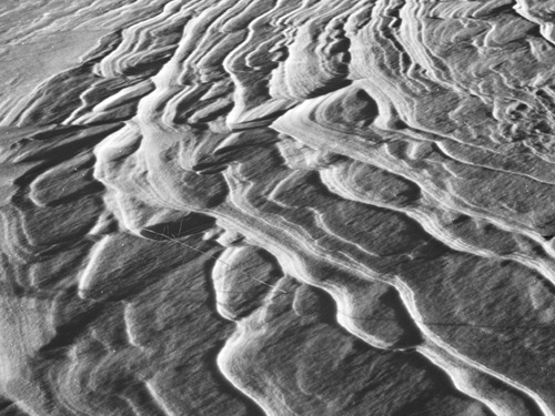 Black and white photo of snow textures