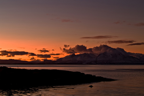 Sunset picture from winter afternoon in Northern Norway