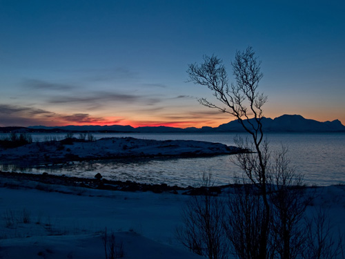 Photo of beautiful winter dusk over fjord in Northern Norway