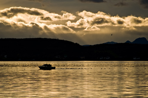 Picture of fishing boat out on the ocean in northern Norway
